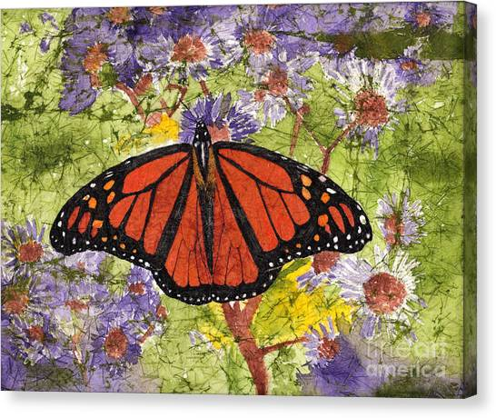 Monarch Butterfly On Purple Flowers Watercolor Batik Canvas Print