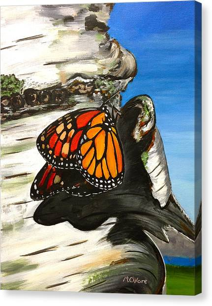 Monarch On Birch Canvas Print