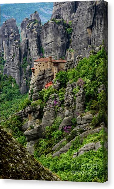 Monastery Of Saint Nicholas Of Anapafsas, Meteora, Greece Canvas Print