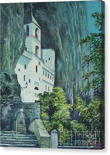 Monastery Ostrog Montenegro Canvas Print by Sinisa Saratlic