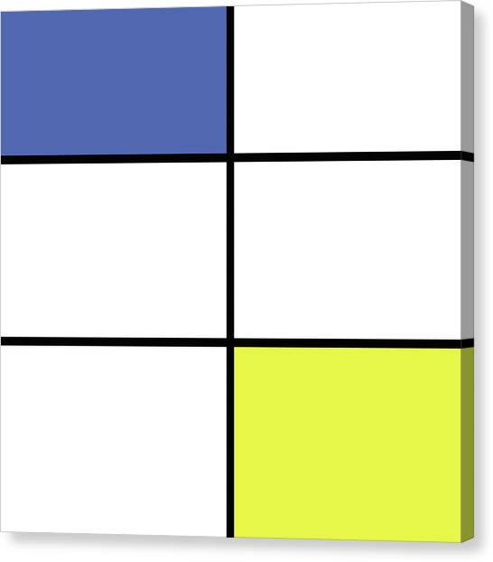 De Stijl Canvas Print - Mondrian Style Minimalist Pattern In Blue And Yellow by Studio Grafiikka