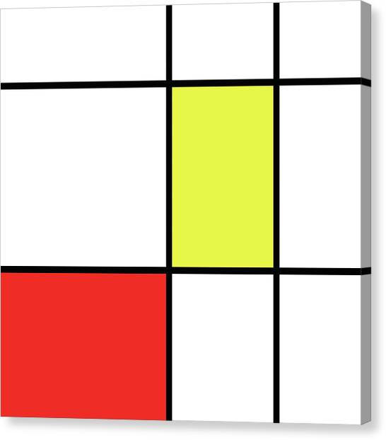 De Stijl Canvas Print - Mondrian Style Minimalist Pattern In Red And Yellow by Studio Grafiikka