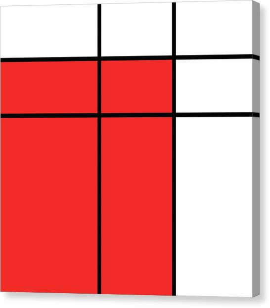 De Stijl Canvas Print - Mondrian Style Minimalist Pattern In Red by Studio Grafiikka