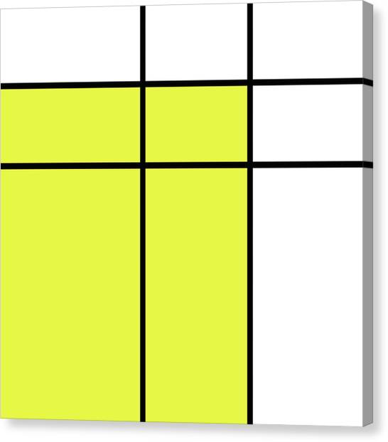 De Stijl Canvas Print - Mondrian Style Minimalist Pattern In Yellow by Studio Grafiikka