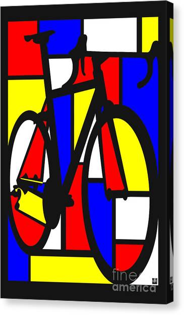 Canvas Print featuring the painting Mondrianesque Road Bike by Sassan Filsoof