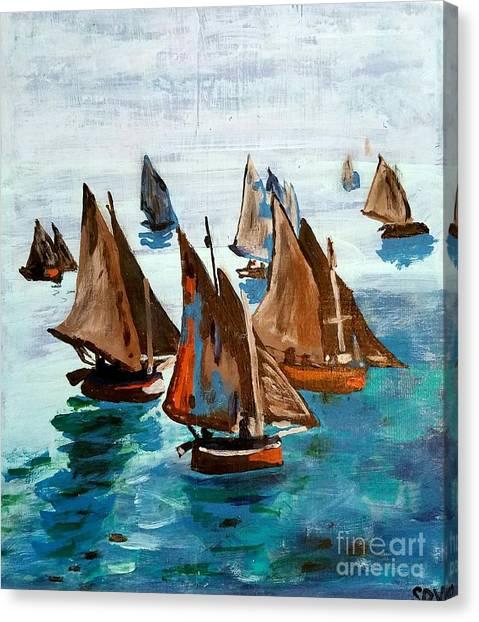 Monet Fishing Boats Calm Seas Canvas Print