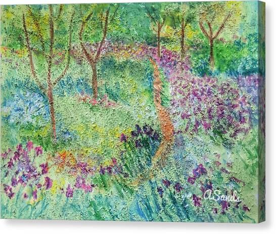 Monet Inspired Iris Garden Canvas Print