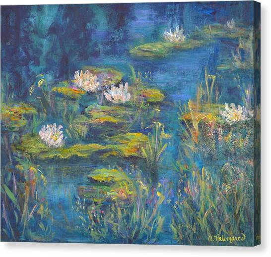 Monet Style Water Lily Marsh Wetland Landscape Painting Canvas Print