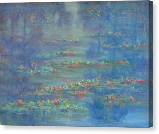 Monet Style Water Lily Pond Landscape Painting Canvas Print