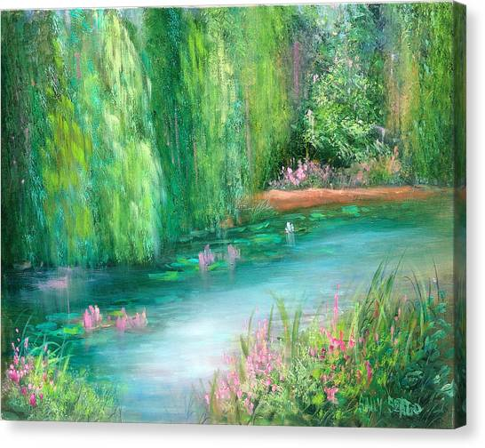 Monet's Pond Canvas Print by Sally Seago