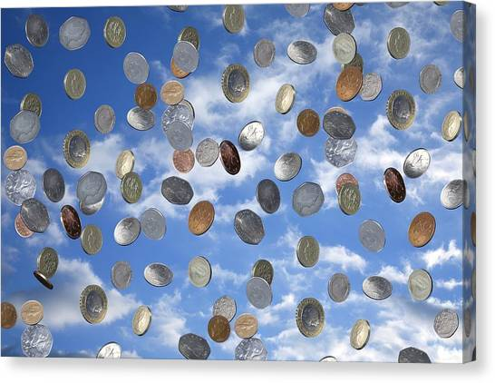 Money Shower Canvas Print by Victor De Schwanberg
