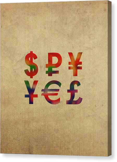 Yen Canvas Print - Money Symbols In Watercolor by Design Turnpike
