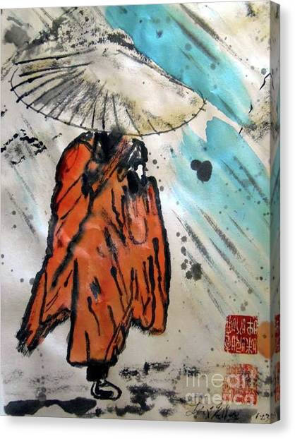 Monk In Rain, Chinese Watercolor Canvas Print