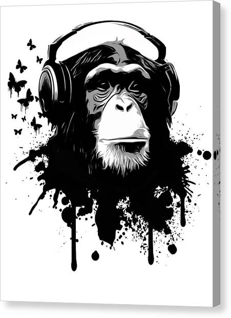 Black And White Canvas Print - Monkey Business by Nicklas Gustafsson