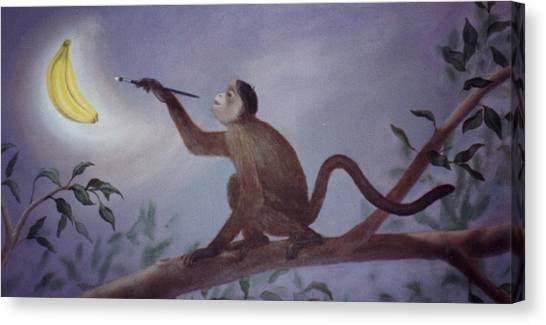 Monkey In The Moonlight Canvas Print