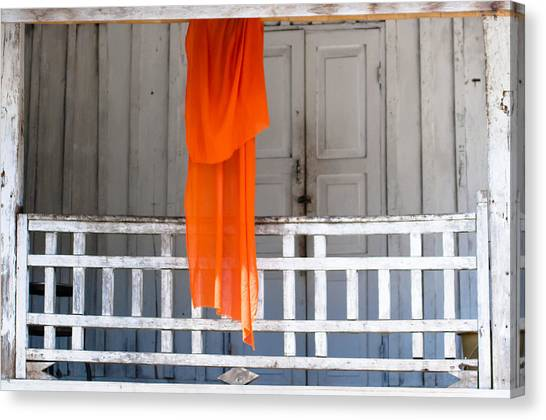 Monk's Robe Hanging Out To Dry, Luang Prabang, Laos Canvas Print