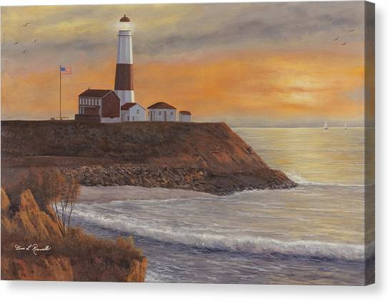 Monntauk Lighthouse Sunset Canvas Print