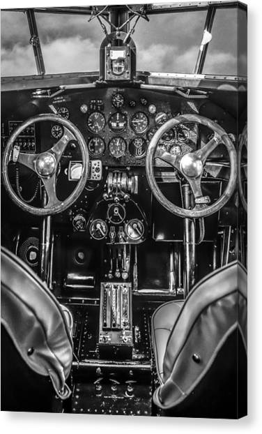 Monochrome Cockpit Canvas Print