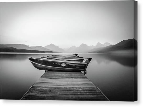 Monochrome // Lake Mcdonald, Glacier National Park Canvas Print