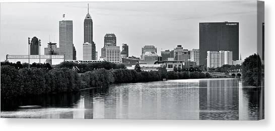 Indiana Pacers Canvas Print - Monochrome Panorama by Frozen in Time Fine Art Photography