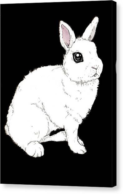 Rabbit Canvas Print - Monochrome Rabbit by Katrina Davis