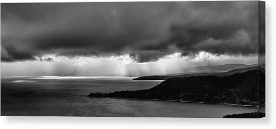Monochrome Storm Panorama Canvas Print