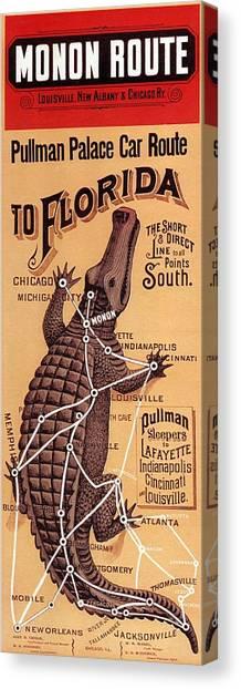 Crocodiles Canvas Print - Monon Route - Pullman Palace Car Route To Florida - Retro Travel Poster - Vintage Poster by Studio Grafiikka