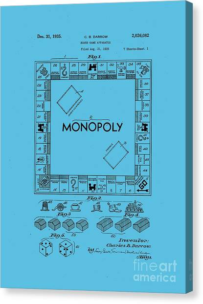 Tee Shirt Canvas Print - Monopoly Original Patent Art Drawing T-shirt by Edward Fielding
