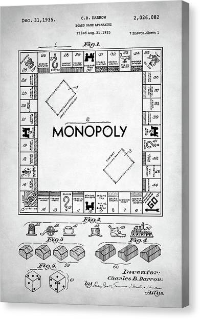 Monopoly game canvas prints page 4 of 9 fine art america monopoly game canvas print monopoly patent by zapista malvernweather Choice Image