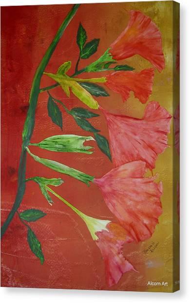 Monoprint Of Angel Trumpet Canvas Print by Brenda Alcorn