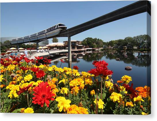 Canvas Print - Monorail At Disney's Epcot by Carl Purcell