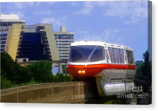 Post-modern Art Canvas Print - Monorail by David Lee Thompson