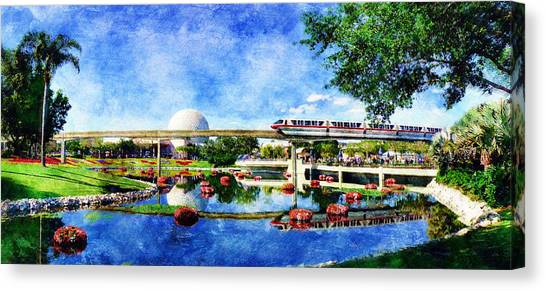 Monorail Red - Coming 'round The Bend Canvas Print