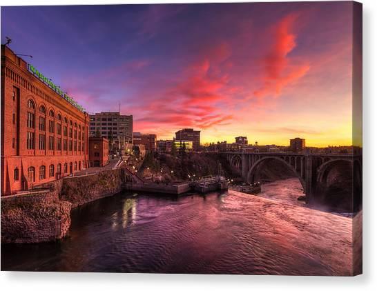 Monroe Bridge Sunset View Canvas Print