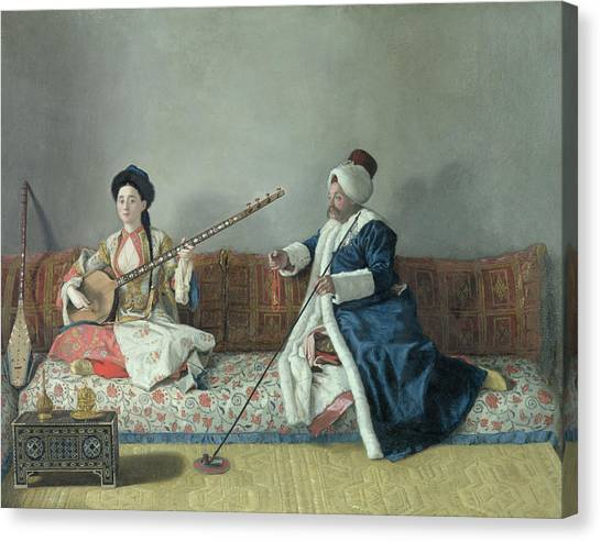 Mandolins Canvas Print - Monsieur Levett And Mademoiselle Helene Glavany In Turkish Costumes by Jean Etienne Liotard