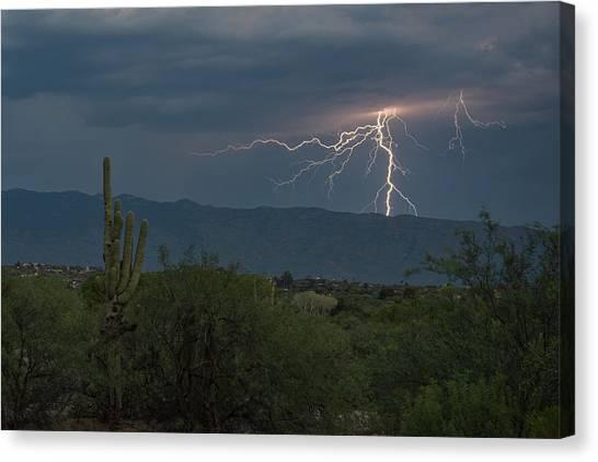 Canvas Print featuring the photograph Monsoon Lightning by Dan McManus