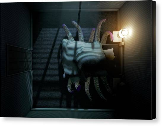 Squids Canvas Print - Monster Under The Bed by Allan Swart
