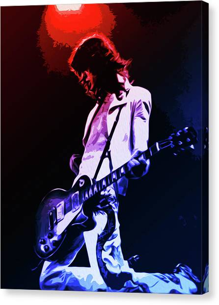 Led Zeppelin Artwork Canvas Print - Monsters Of Rock, Jimmy Page by Andrea Mazzocchetti