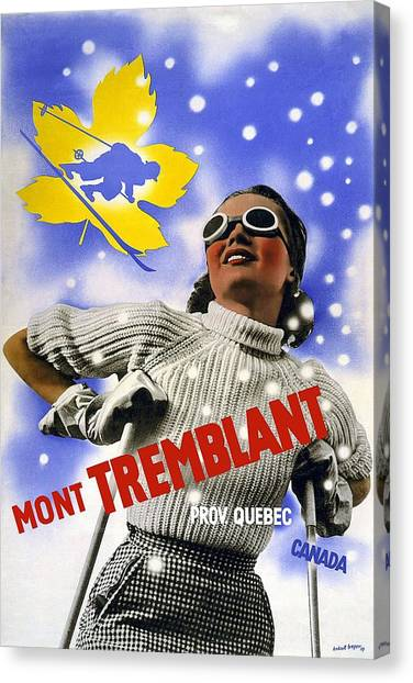 Quebec Canvas Print - Mont Tremblant - Province Quebec - Canada - Retro Travel Poster - Vintage Poster by Studio Grafiikka