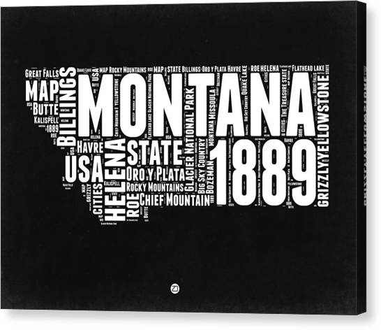 Independence Day Canvas Print - Montana Black And White Map by Naxart Studio