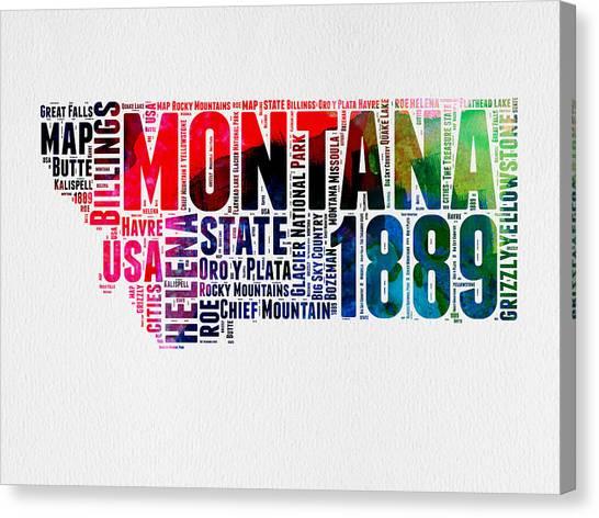 America Map Canvas Print - Montana Watercolor Word Cloud  by Naxart Studio