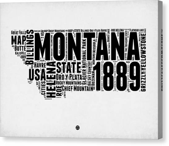 4th Of July Canvas Print - Montana Word Cloud 2 by Naxart Studio