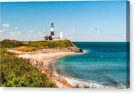 Ocean Cliffs Canvas Print - Montauk Lighthouse by Linda Pulvermacher