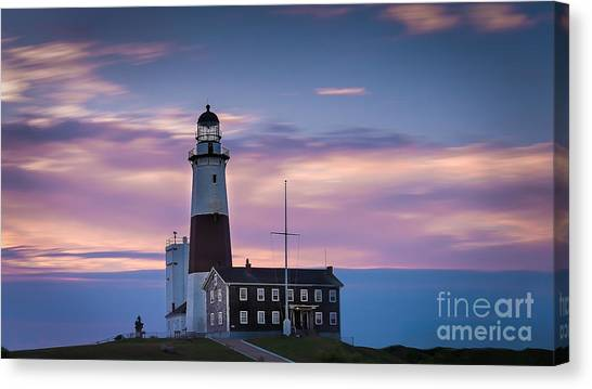 Montauk Lighthousepastel  Sunrise Canvas Print