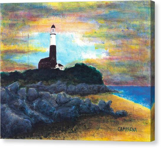 Canvas Print featuring the painting Montauk Point by Teddy Campagna