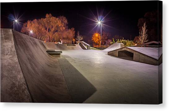 Rollerblading Canvas Print - Monte Vista, Co Skate Park by Kenneth Michel