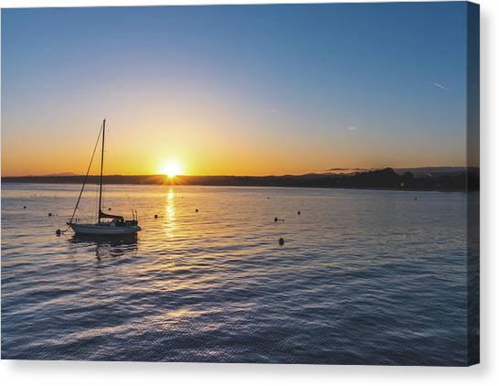 Monterey Bay Sailboat At Sunrise Canvas Print