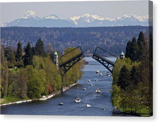 Mountain Ranges Canvas Print - Montlake Bridge And Cascade Mountains by C. Chase Taylor