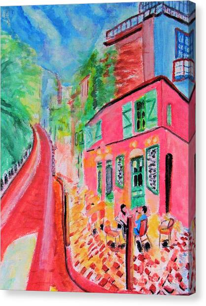 Montmartre Cafe In Paris Canvas Print