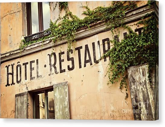 Romanticism Canvas Print - Montmartre Hotel Restaurant  by Delphimages Photo Creations
